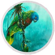 Drenched - St. Lucia Parrot Round Beach Towel