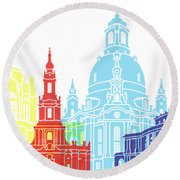 Dresden Skyline Pop Round Beach Towel