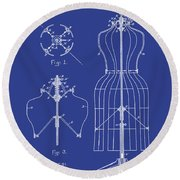 Dress Form Patent 1891 Blue Round Beach Towel