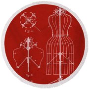 Dress Form Patent 1891 Red Round Beach Towel