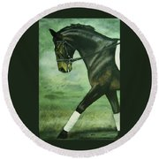 Dressage Horse Caper Round Beach Towel