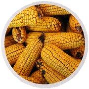 Dried Corn Cobs Round Beach Towel