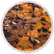 Dried Leaves Round Beach Towel