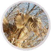 Dried Palm Fronds In The Wind Round Beach Towel