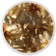 Dried Safflower Round Beach Towel