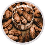 Dried Whole Peanuts In Their Seedpods Round Beach Towel