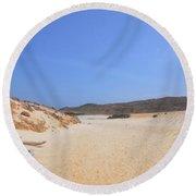 Driftwood Abandoned On A Beautiful Remote Beach In Aruba Round Beach Towel