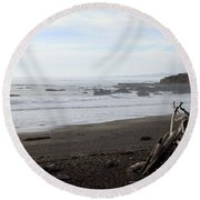 Driftwood And Moonstone Beach Round Beach Towel