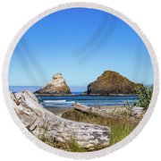 Driftwood And Rocks Round Beach Towel