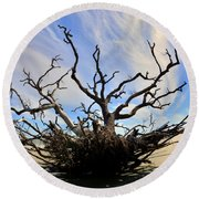 Driftwood And Roots Hunting Island Sc Round Beach Towel by Lisa Wooten