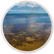 Driftwood At Low Tide In Key West Round Beach Towel