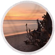 Driftwood At Sunset Round Beach Towel