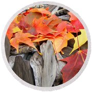 Driftwood Autumn Leaves Art Prints Baslee Troutman Round Beach Towel