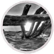 Driftwood B/w Round Beach Towel