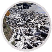 Driftwood By The Ton Round Beach Towel