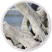 Driftwood Detail Round Beach Towel