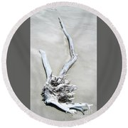 Driftwood On The Beach Round Beach Towel