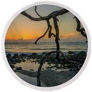 Driftwood Sunrise Round Beach Towel