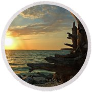 Driftwood Sunset Round Beach Towel