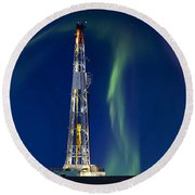 Drilling Rig Saskatchewan Round Beach Towel