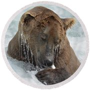 Dripping Grizzly Bear Round Beach Towel