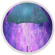 Dripping Poster Purple Rain Round Beach Towel