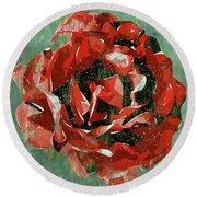 Dripping Poster Rose On Green Round Beach Towel