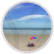 Drive By Beach Day Abmlo  Round Beach Towel