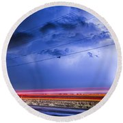 Drive By Lightning Strike Round Beach Towel
