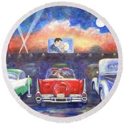 Drive-in Movie Theater Round Beach Towel