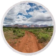 Drive To Loy Canyon, Sedona, Arizona Round Beach Towel
