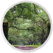 Driveway To The Past Round Beach Towel