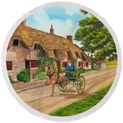 Driving A Jaunting Cart Round Beach Towel