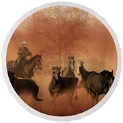 Driving The Herd Round Beach Towel by Corey Ford