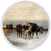 Driving The Herd Home In Wintry Landscape Round Beach Towel