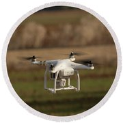 Drone Fly Above The Field Round Beach Towel