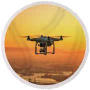 Drone Flying On Sunset Round Beach Towel