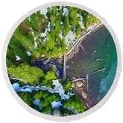 Drone Shot Of Lake 22 Bridge Round Beach Towel