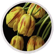 Drooping Tulips Round Beach Towel