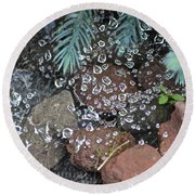 Droplets Over Web Round Beach Towel