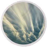 Dropping Clouds Round Beach Towel