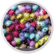 Drops And Candies Round Beach Towel