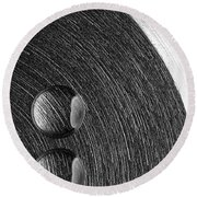 Drops On Steel Black And White Round Beach Towel