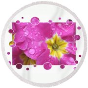 Bubbly Pink Raindrops  Round Beach Towel