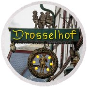 Drosselhof Neon Sign Round Beach Towel