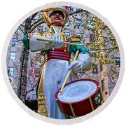 Drummer Boy  In Rockefeller Center Round Beach Towel
