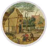 Drunkard Being Taken Home From The Tavern By His Wife Round Beach Towel