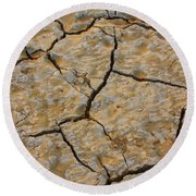 Dry Cracked Lake Bed Round Beach Towel