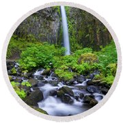 Dry Creek Falls Round Beach Towel