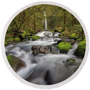 Dry Creek Falls In Springtime Round Beach Towel